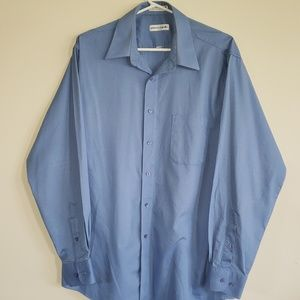 Pierre Cardin Textured Classic Fit Blue Shirt